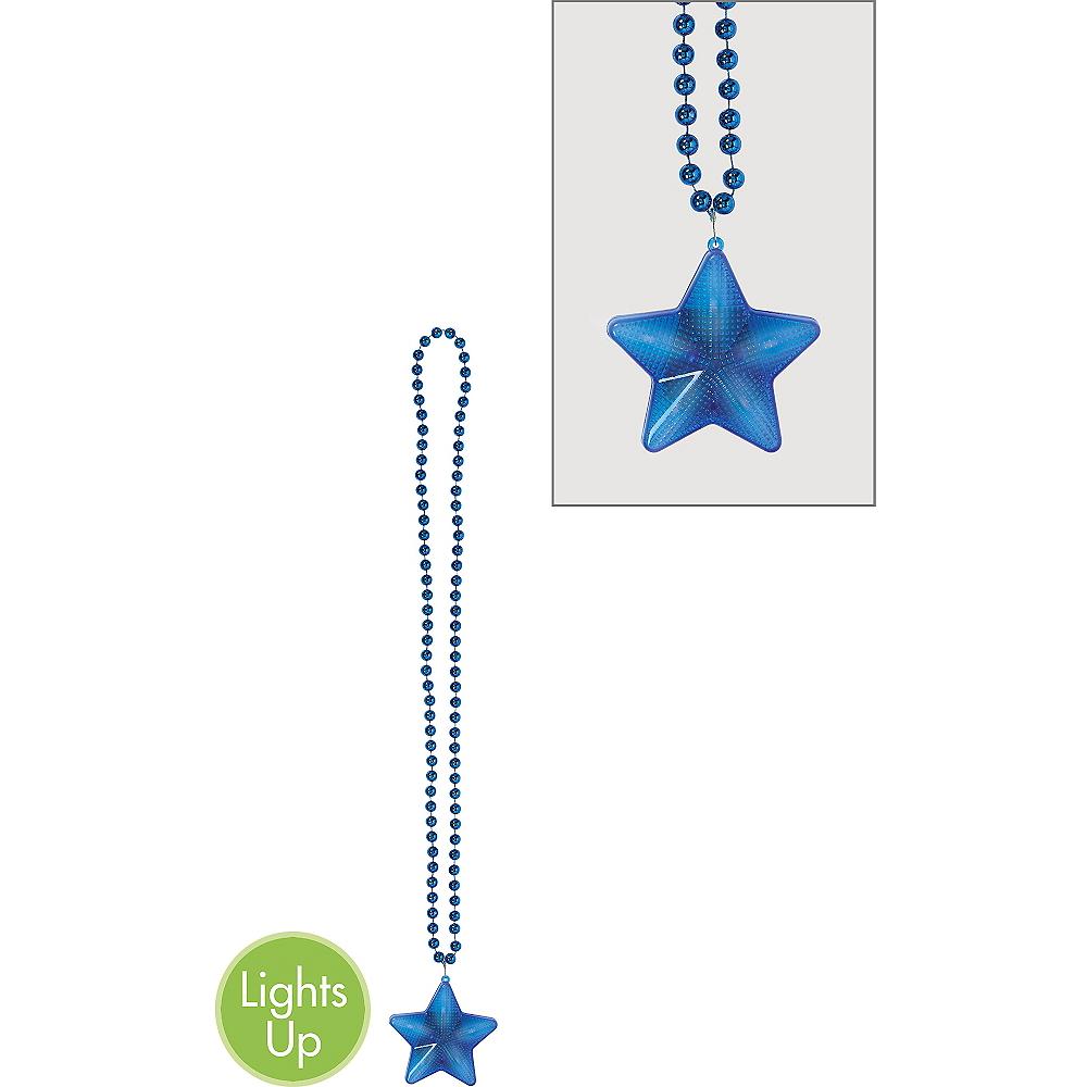 Light-Up Blue Star Pendant Bead Necklace Image #1