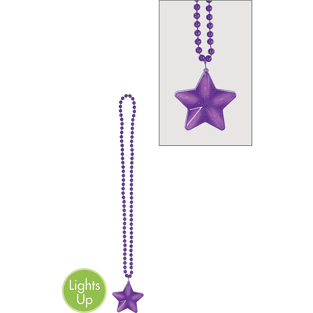 Nav Item for Light-Up Purple Star Pendant Bead Necklace Image #1