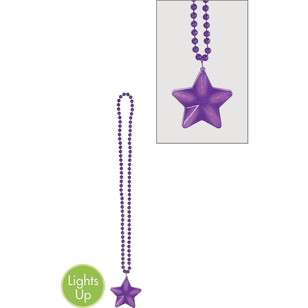 Light-Up Purple Star Pendant Bead Necklace Image #1