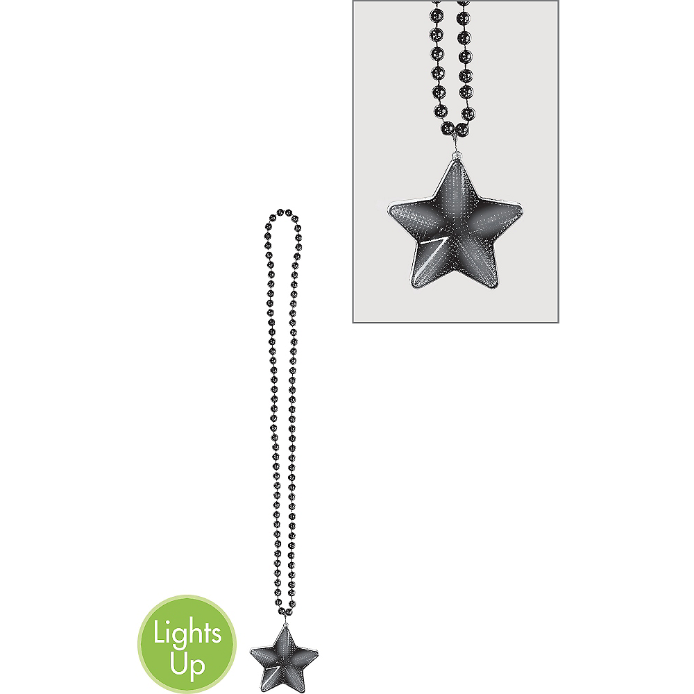 Light-Up Black Star Pendant Bead Necklace Image #1