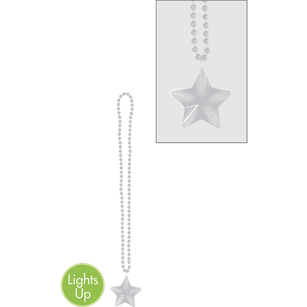 Nav Item for Light-Up Silver Star Pendant Bead Necklace Image #1