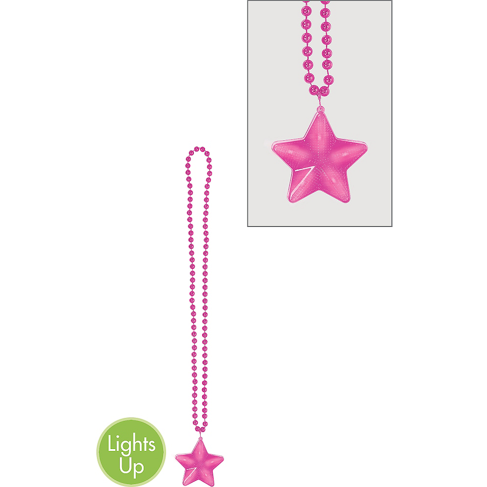 Light-Up Pink Star Pendant Bead Necklace Image #1