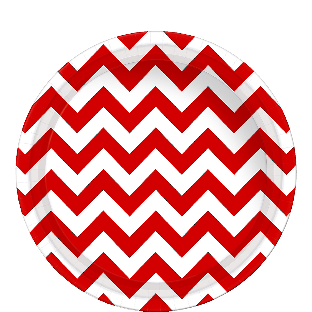 Red Chevron Paper Lunch Plates 8ct Image #1