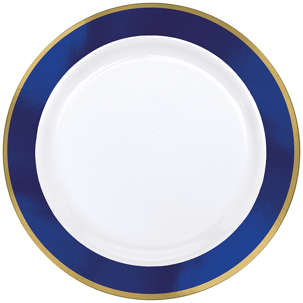 Nav Item for Gold & Royal Blue Border Premium Plastic Dinner Plates 10ct Image #1