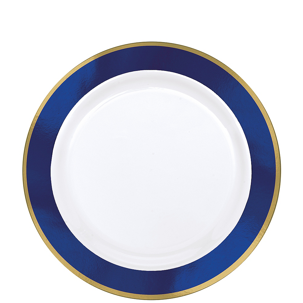 Gold & Royal Blue Border Premium Plastic Lunch Plates 10ct Image #1