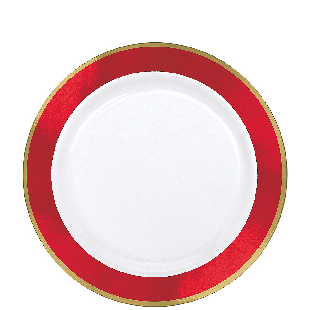Gold & Red Border Premium Plastic Lunch Plates 10ct Image #1