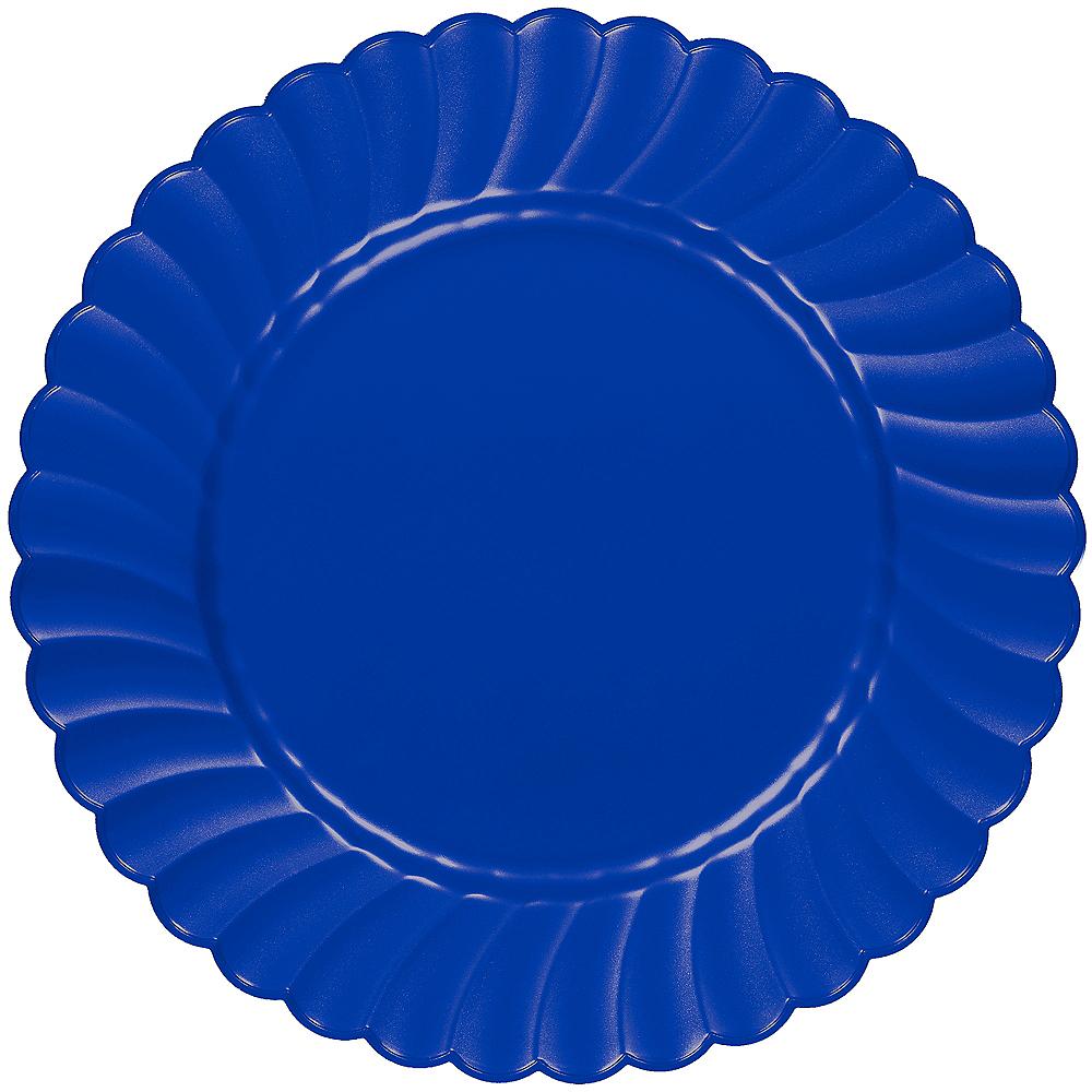 Royal Blue Premium Plastic Scalloped Dinner Plates 12ct Image #1