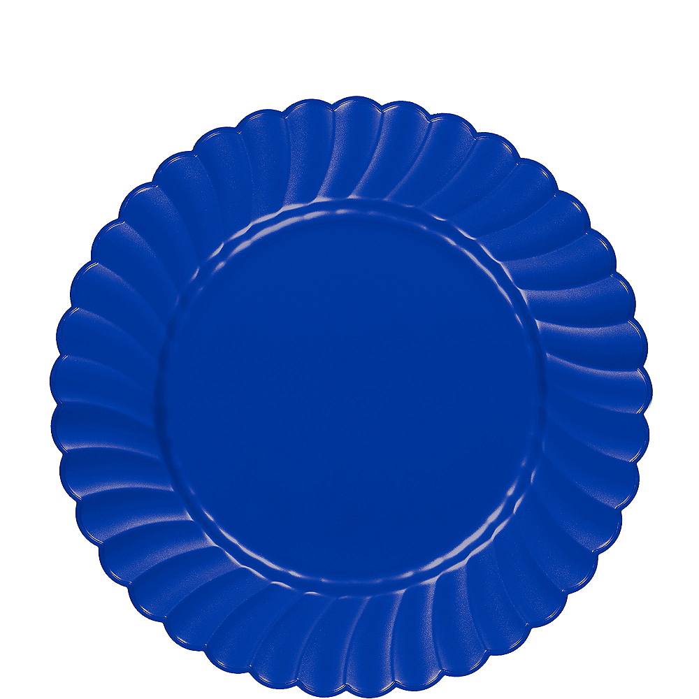 Royal Blue Premium Plastic Scalloped Lunch Plates 12ct Image #1