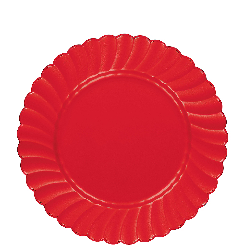 Red Premium Plastic Scalloped Lunch Plates 12ct Image #1