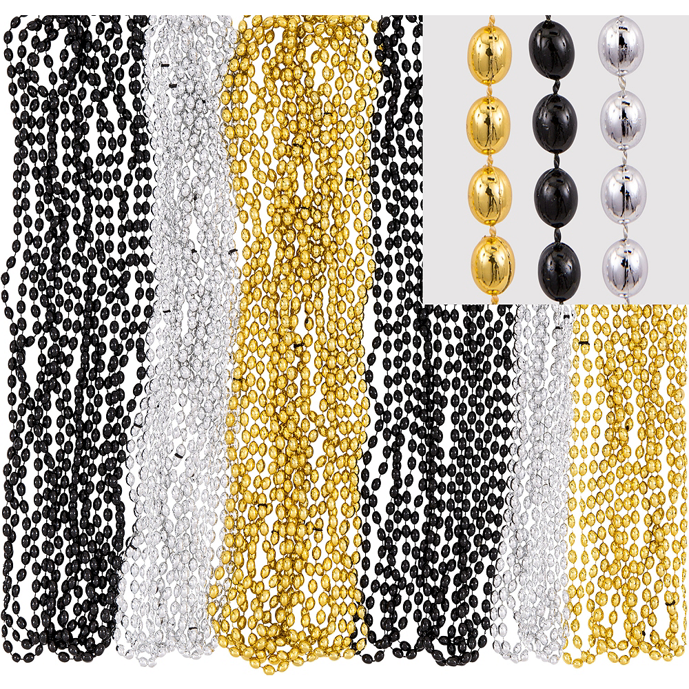 Black, Gold & Silver Bead Necklaces 24ct Image #1