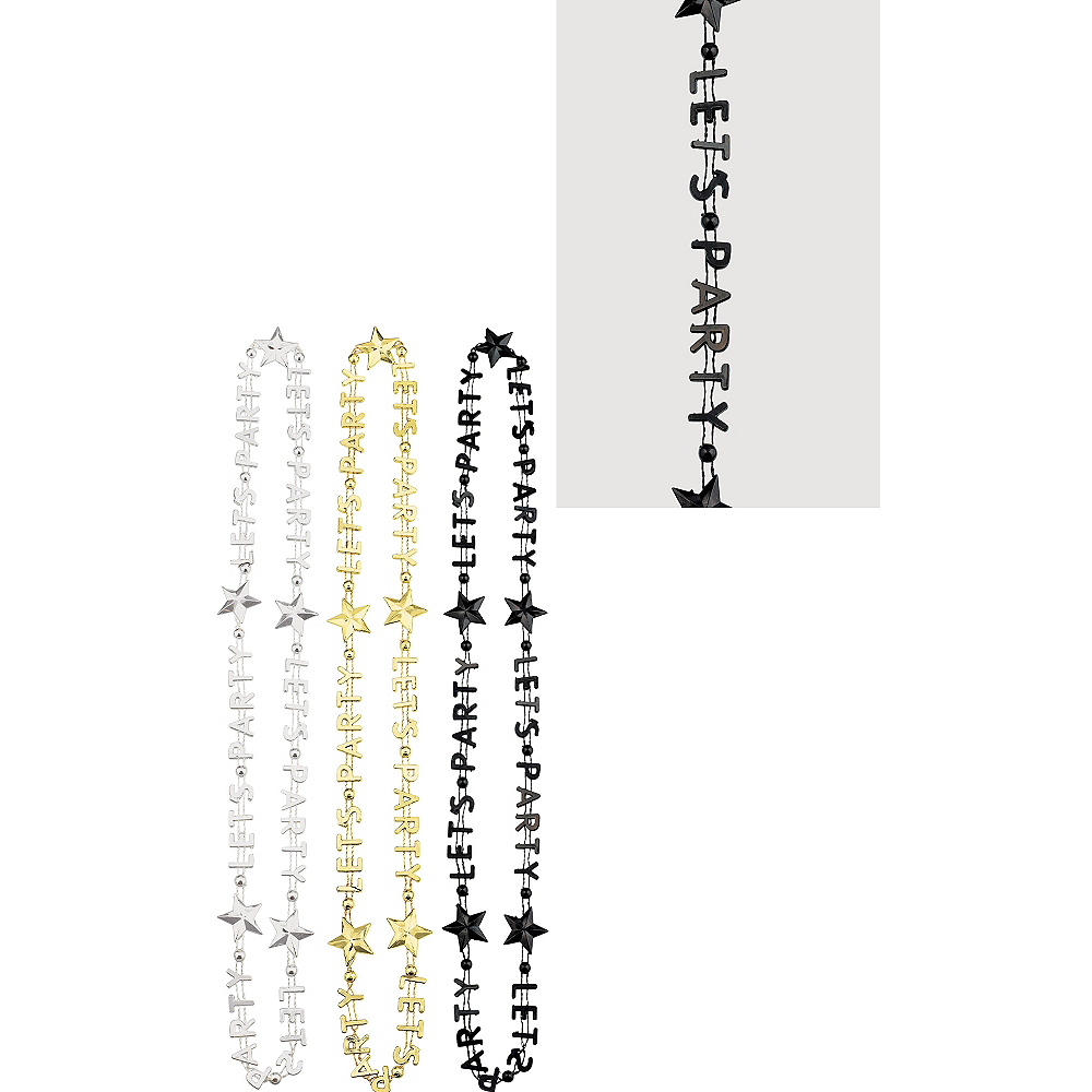 Black, Gold & Silver Let's Party Bead Necklaces 3ct Image #1