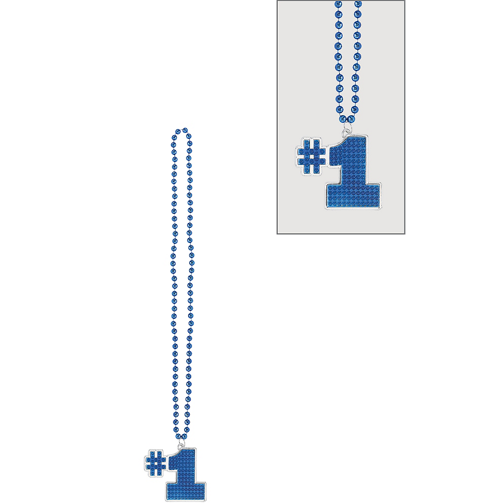 Blue #1 Pendant Bead Necklace Image #1