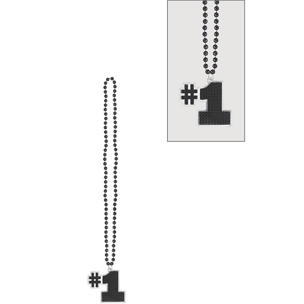 Black #1 Pendant Bead Necklace Image #1