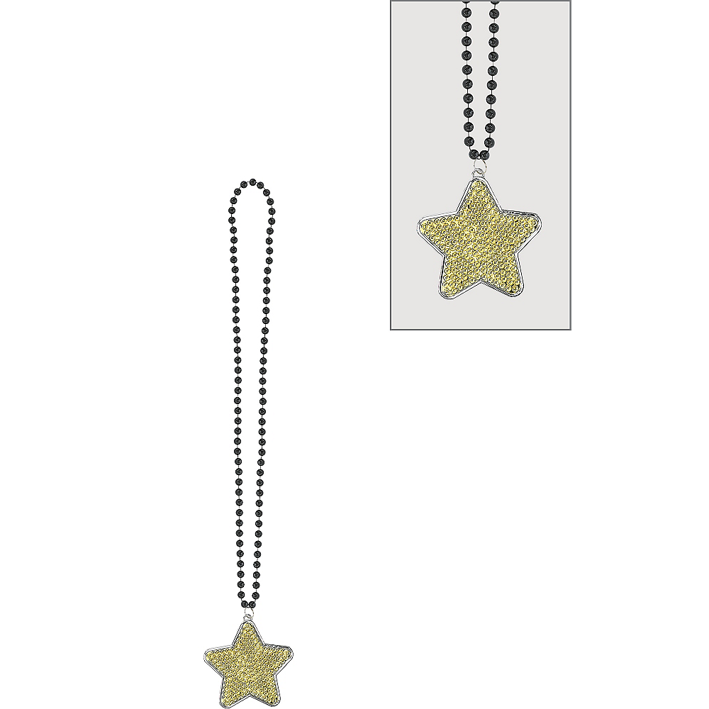 Black, Gold & Silver Star Pendant Bead Necklace Image #1