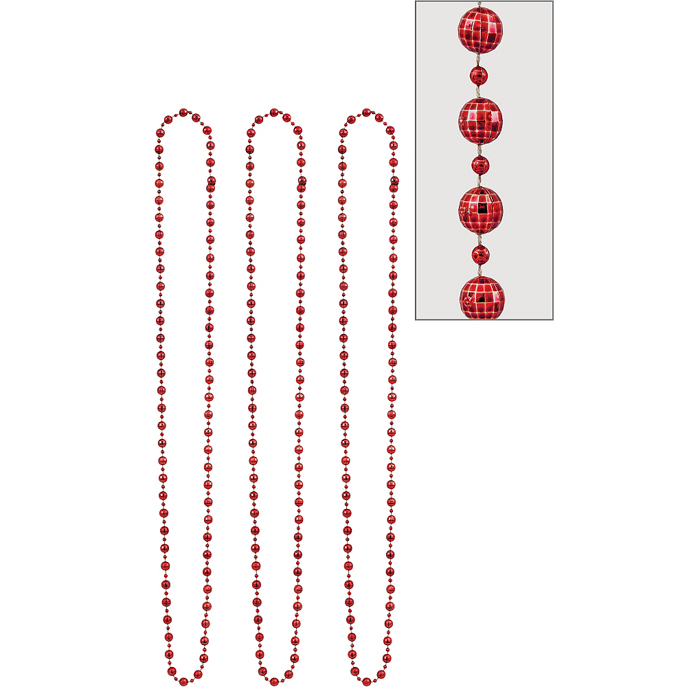 Red Disco Bead Necklaces 3ct Image #1