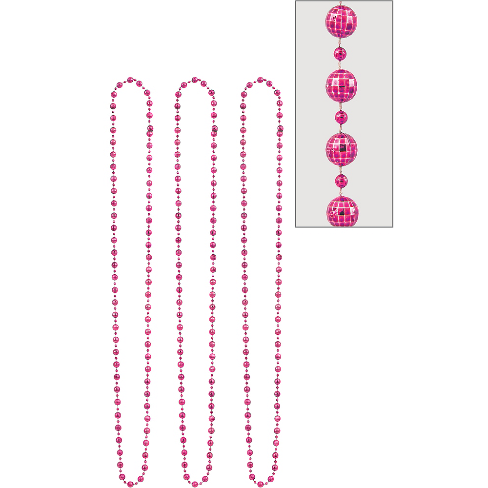 Pink Disco Bead Necklaces 3ct Image #1