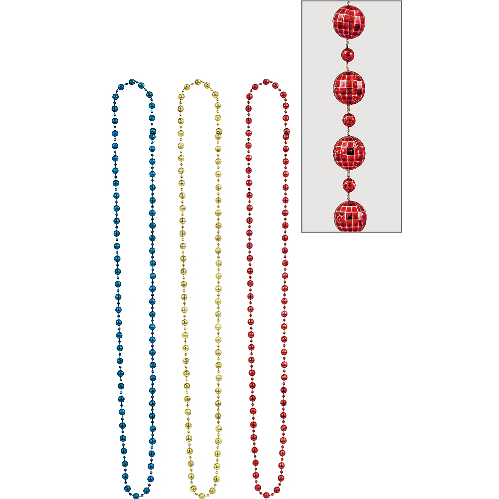 Blue, Gold & Red Disco Bead Necklaces 3ct Image #1