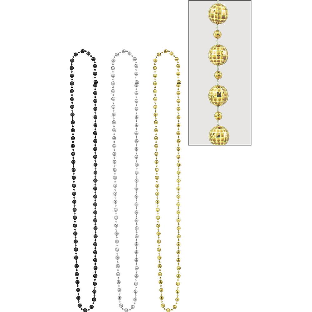 Black, Gold & Silver Disco Bead Necklaces 3ct Image #1