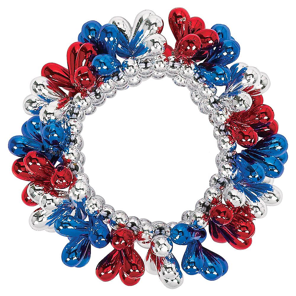 Blue, Red & Silver Bead Bracelet Image #1