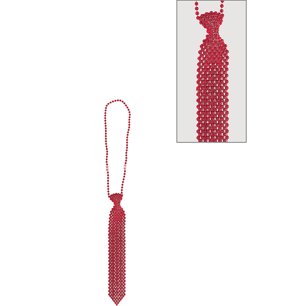 Red Tie Bead Necklace Image #1