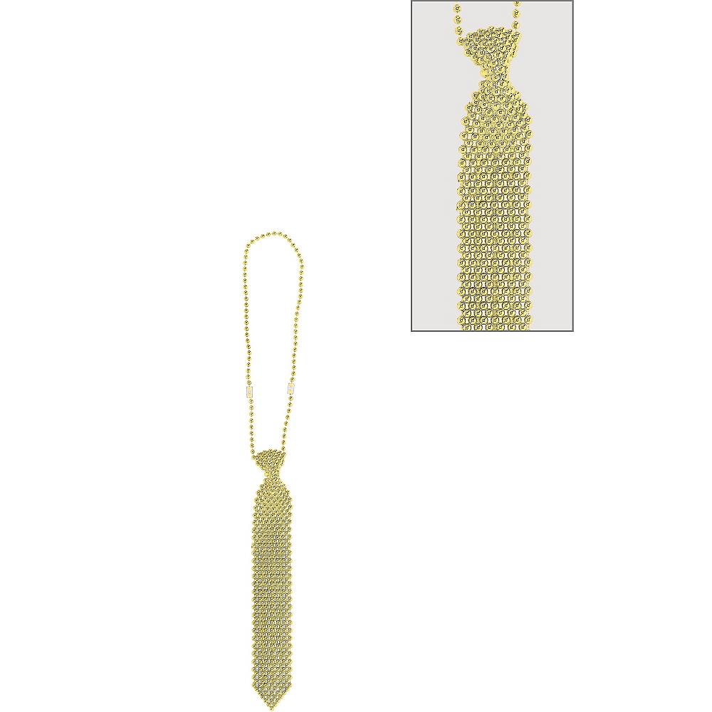 Gold Tie Bead Necklace Image #1
