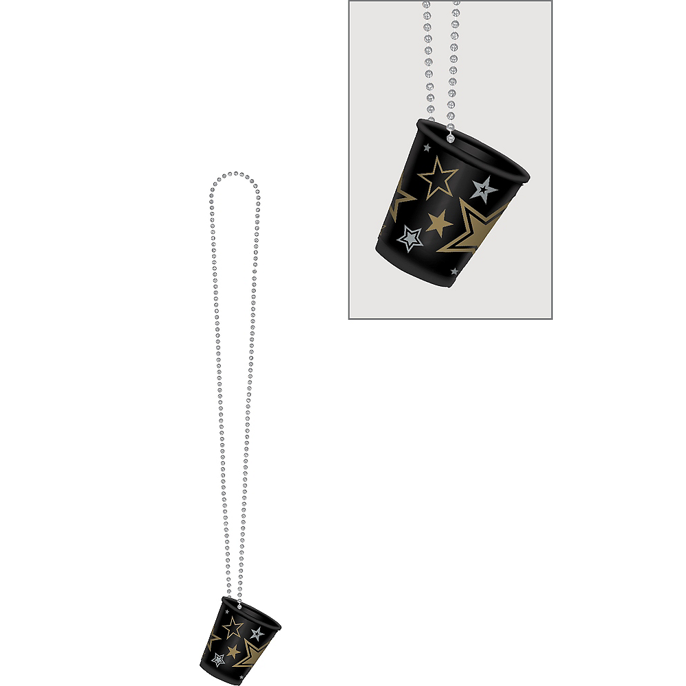 Black, Gold & Silver Star Shot Glass Bead Necklace Image #1
