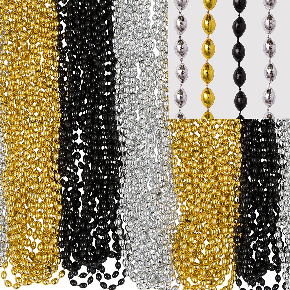 Black, Gold & Silver Bead Necklaces 100ct Image #1