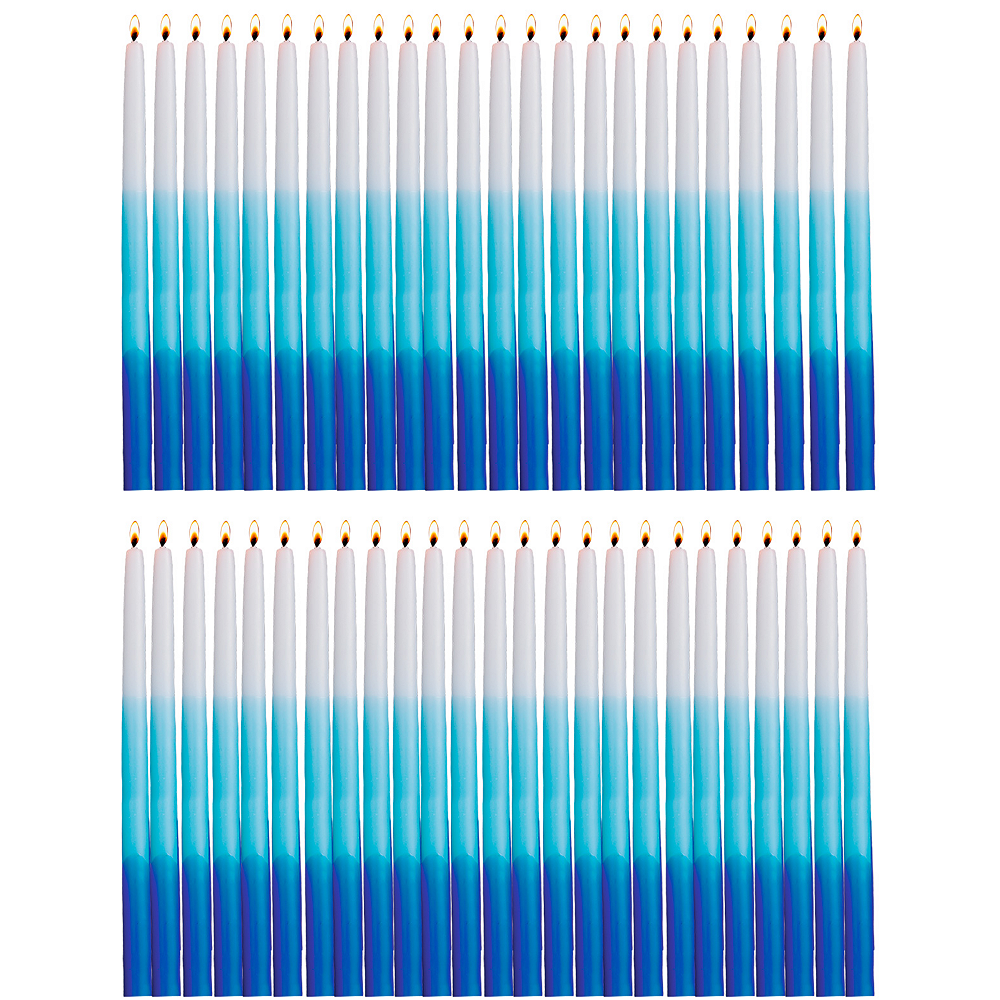 Tall Blue & White Hanukkah Candles 45ct Image #1