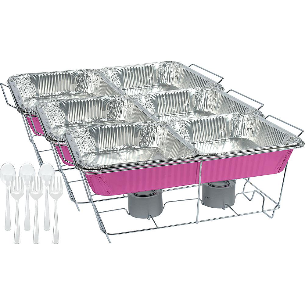 Bright Pink Chafing Dish Buffet Set 24pc Image #1