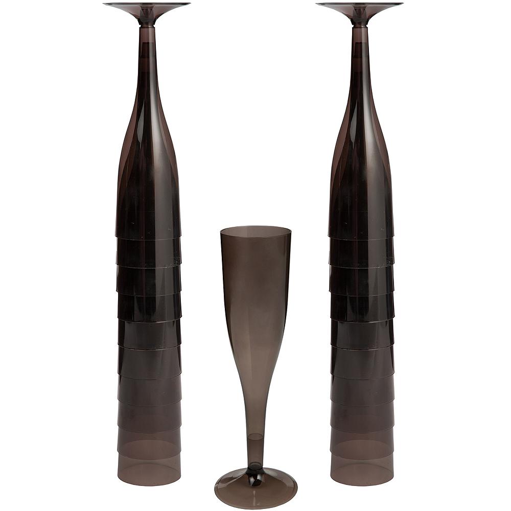 Big Party Pack Black Plastic Champagne Flutes 20ct Image #1