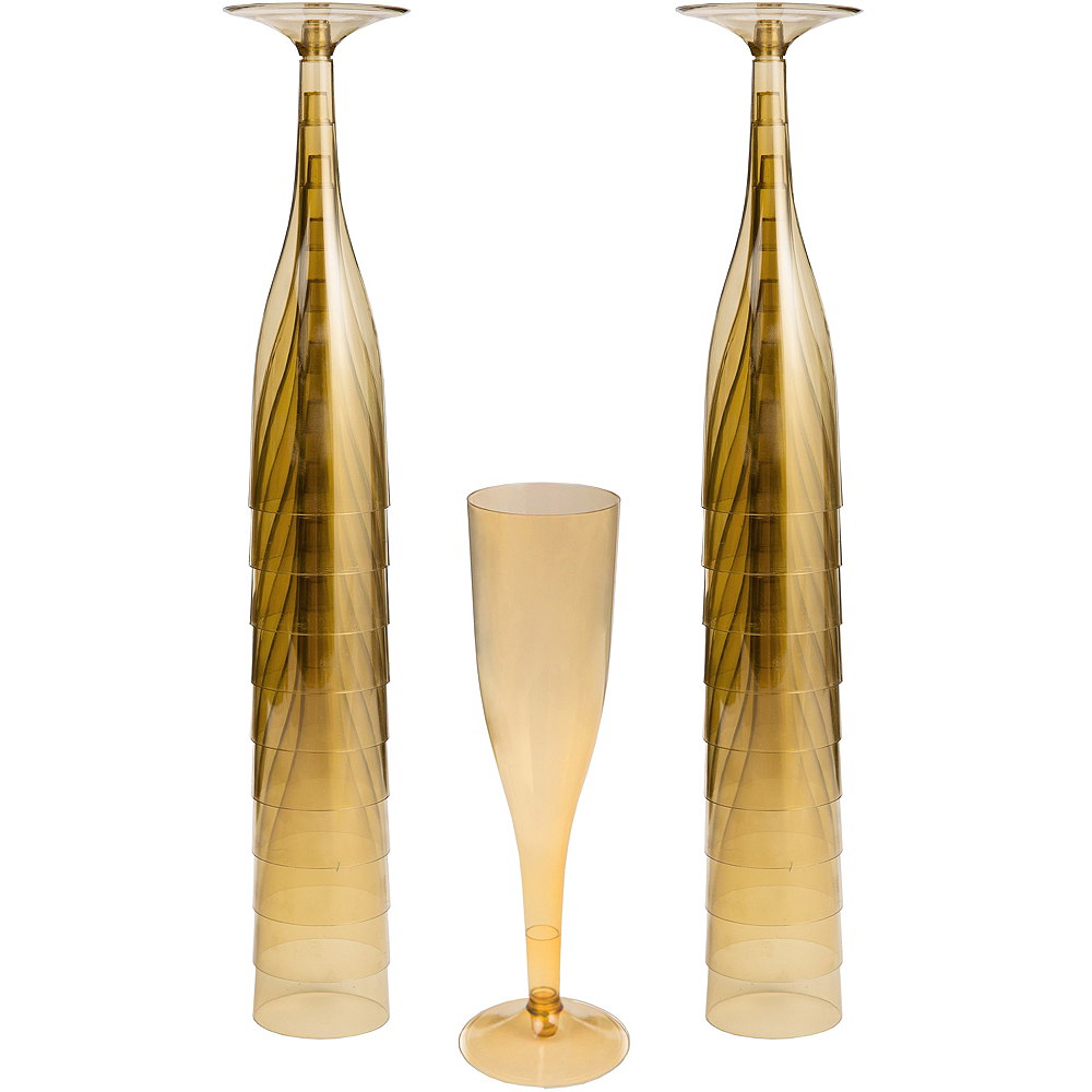 Big Party Pack Gold Plastic Champagne Flutes 20ct Image #1