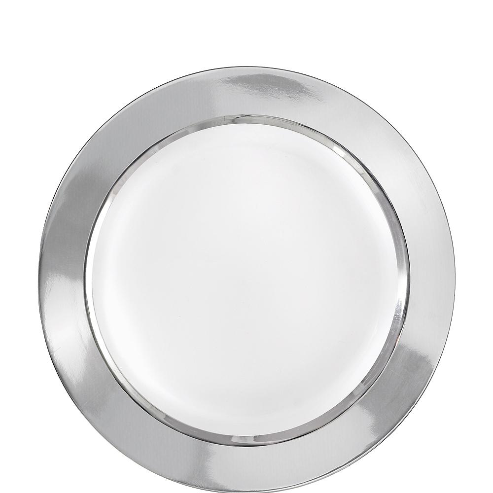 White Silver Border Premium Plastic Lunch Plates 10ct Image #1
