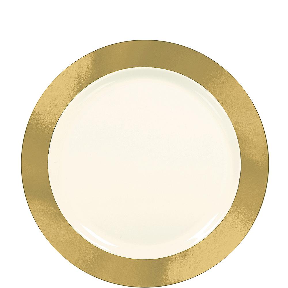 Cream Gold Border Premium Plastic Lunch Plates 10ct Image #1