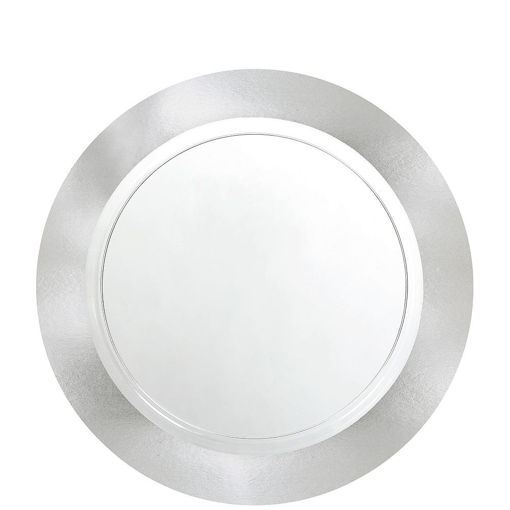CLEAR Silver Border Premium Plastic Lunch Plates 10ct Image #1