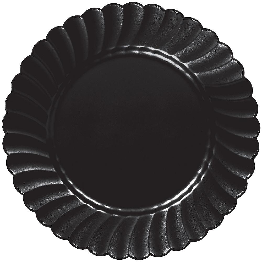 Black Premium Plastic Scalloped Dinner Plates 12ct Image #1
