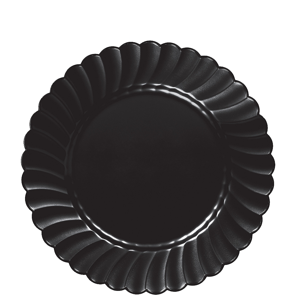 Black Premium Plastic Scalloped Lunch Plates 12ct Image #1
