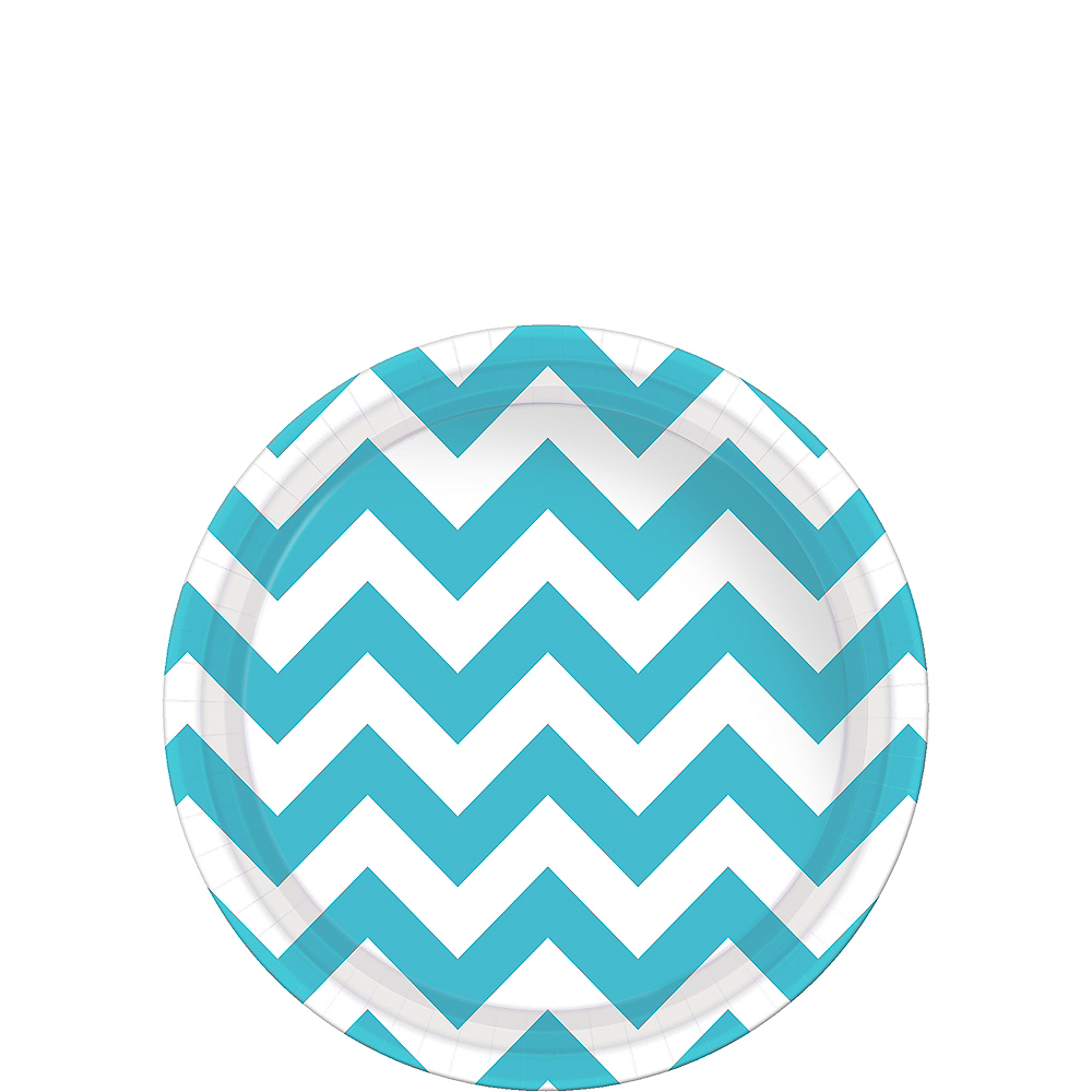 Nav Item for Caribbean Blue Chevron Paper Dessert Plates 8ct Image #1