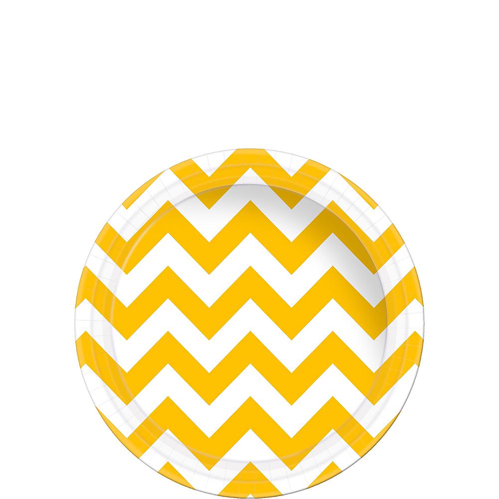 Sunshine Yellow Chevron Paper Dessert Plates 8ct Image #1