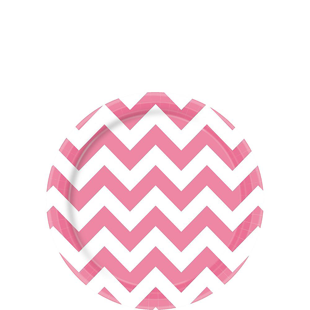 Nav Item for Bright Pink Chevron Paper Dessert Plates 8ct Image #1