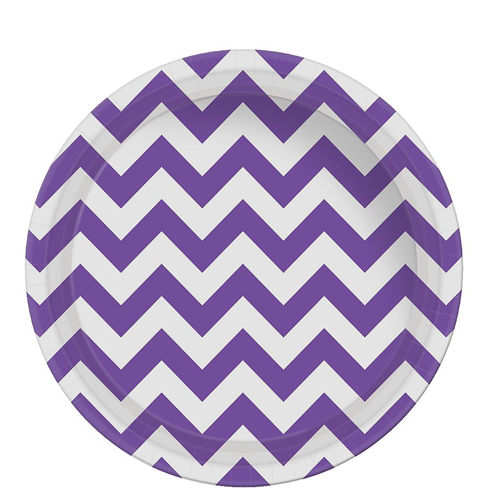 Purple Chevron Paper Lunch Plates 8ct Image #1