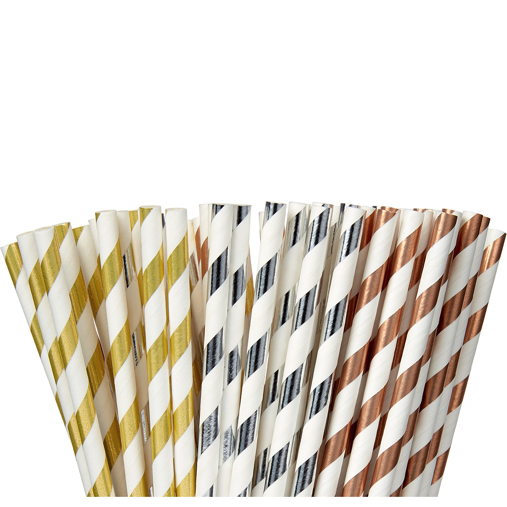 Metallic Striped Paper Straws 80ct Image #1
