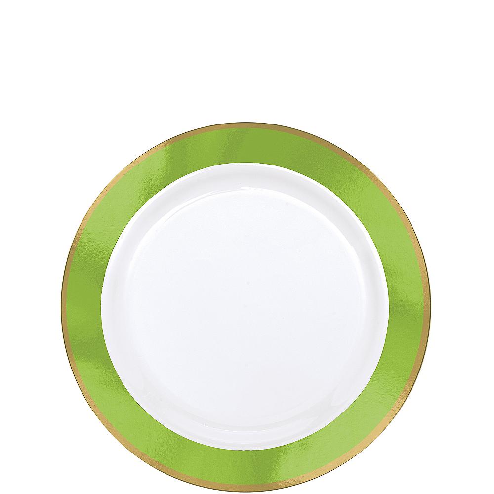 Gold & Kiwi Green Border Premium Plastic Appetizer Plates 10ct Image #1