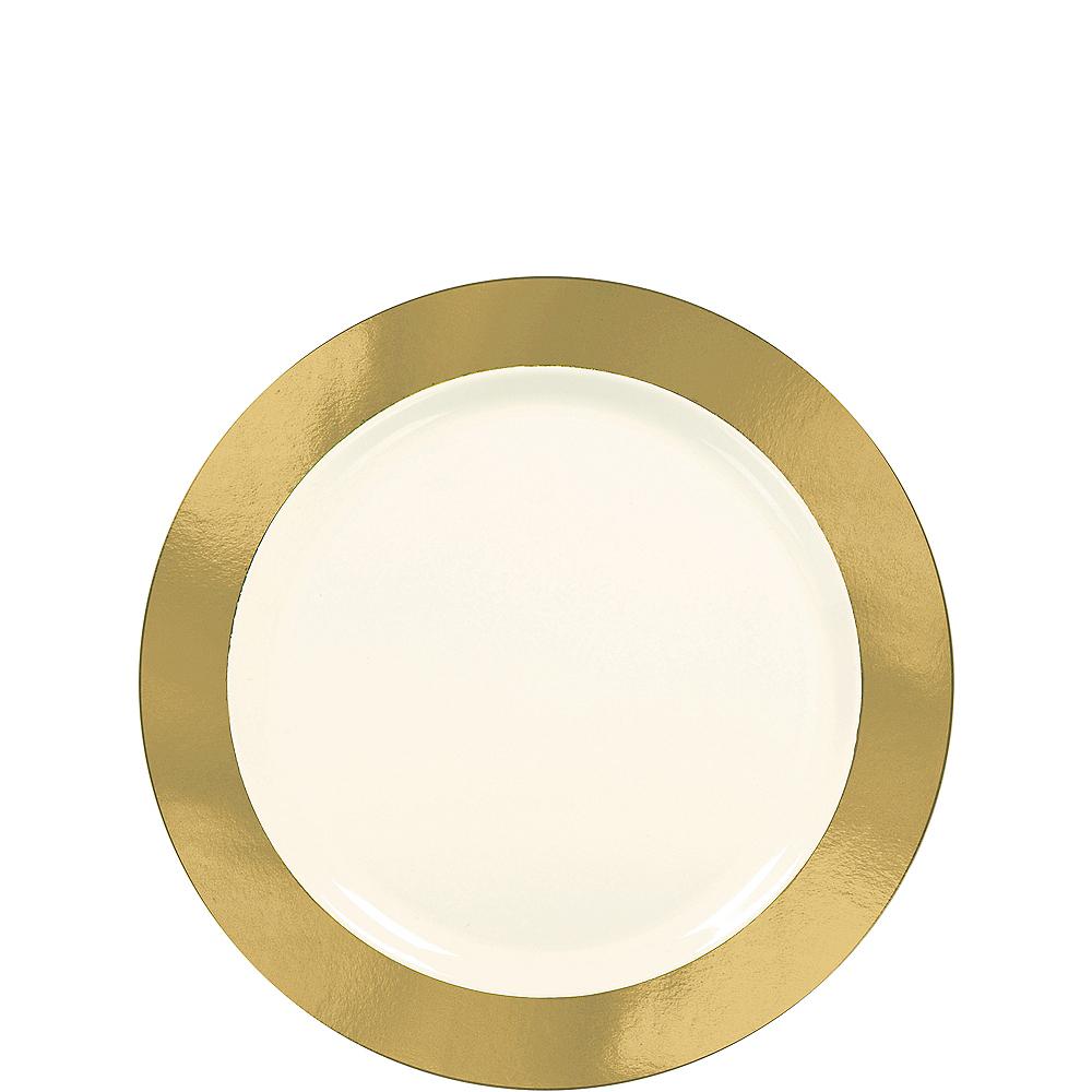 Cream Gold Border Premium Plastic Appetizer Plates 10ct Image #1