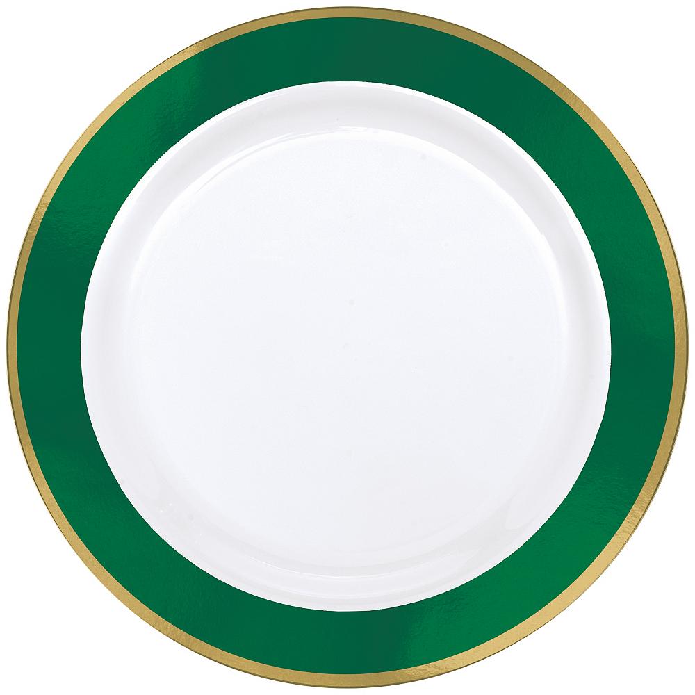 Gold & Festive Green Border Premium Plastic Dinner Plates 10ct Image #1