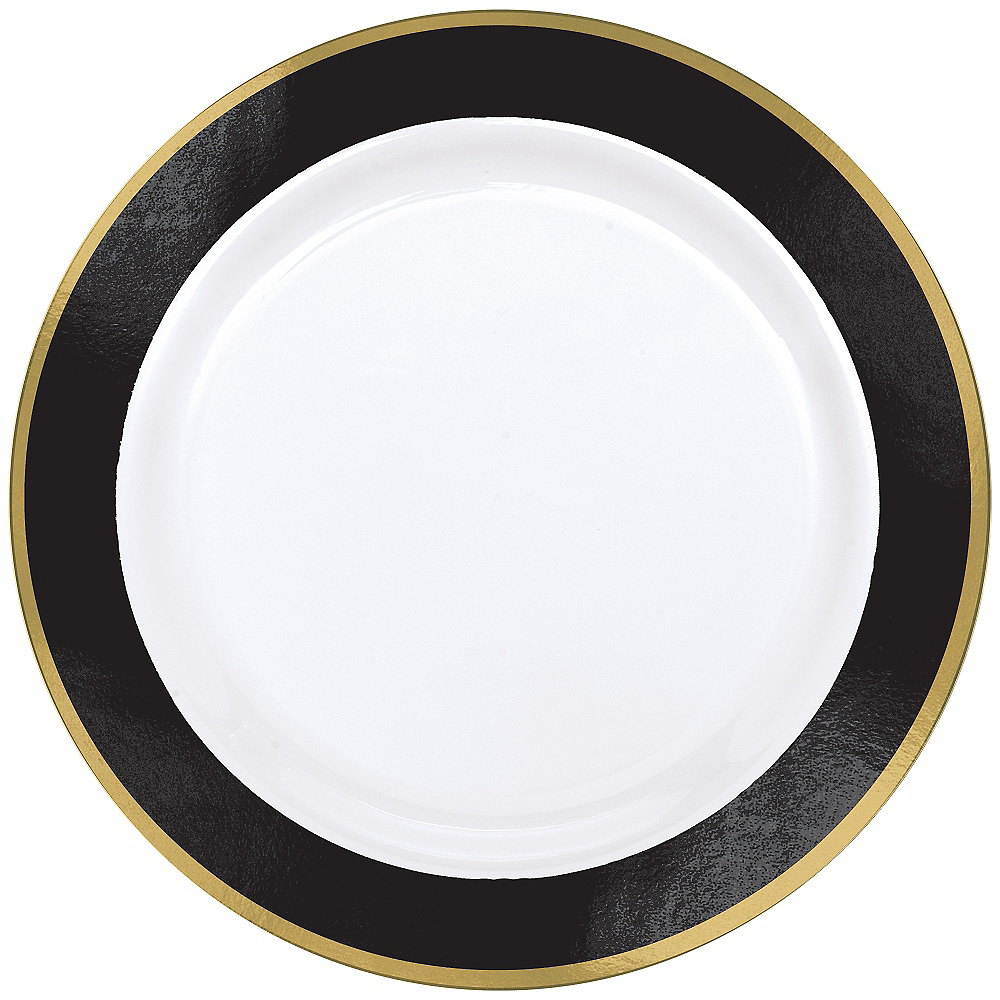 Gold & Black Border Premium Plastic Dinner Plates 10ct Image #1