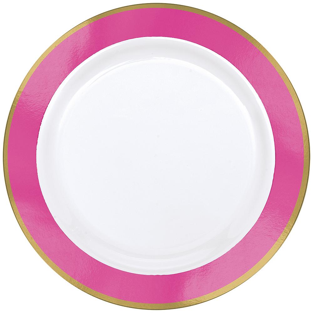 Gold & Bright Pink Border Premium Plastic Dinner Plates 10ct Image #1