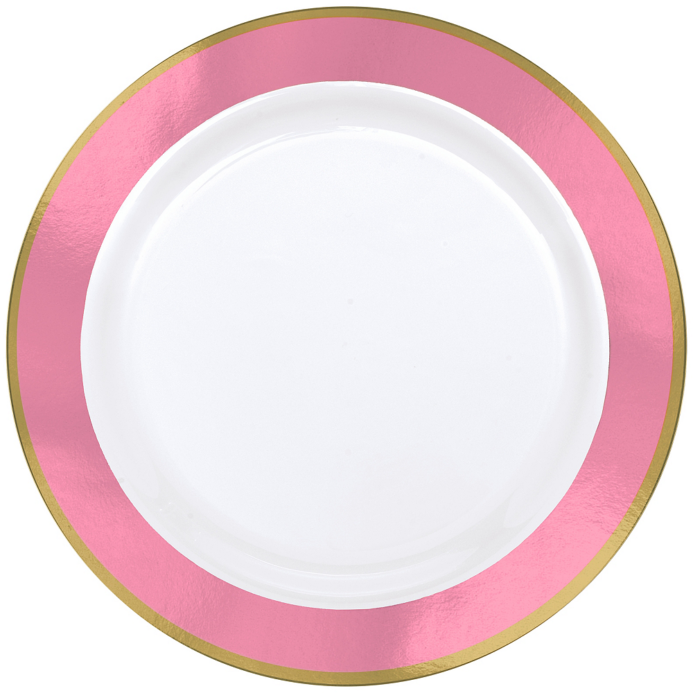 Gold & Pink Border Premium Plastic Dinner Plates 10ct Image #1