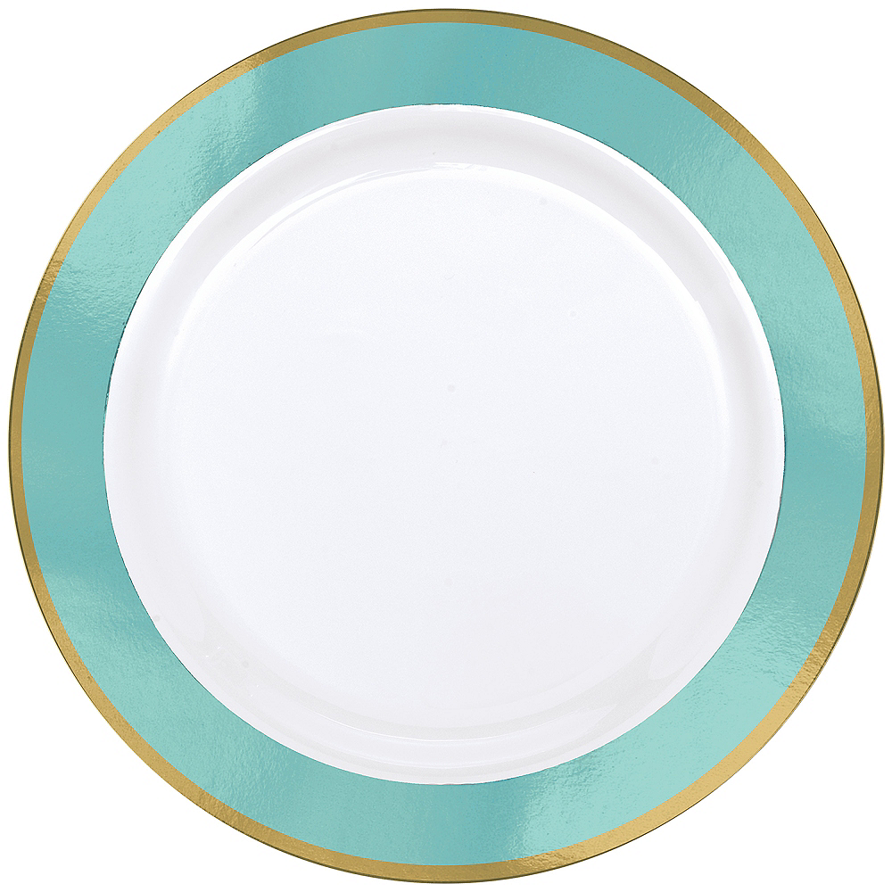 Gold & Robin's Egg Blue Border Premium Plastic Dinner Plates 10ct Image #1