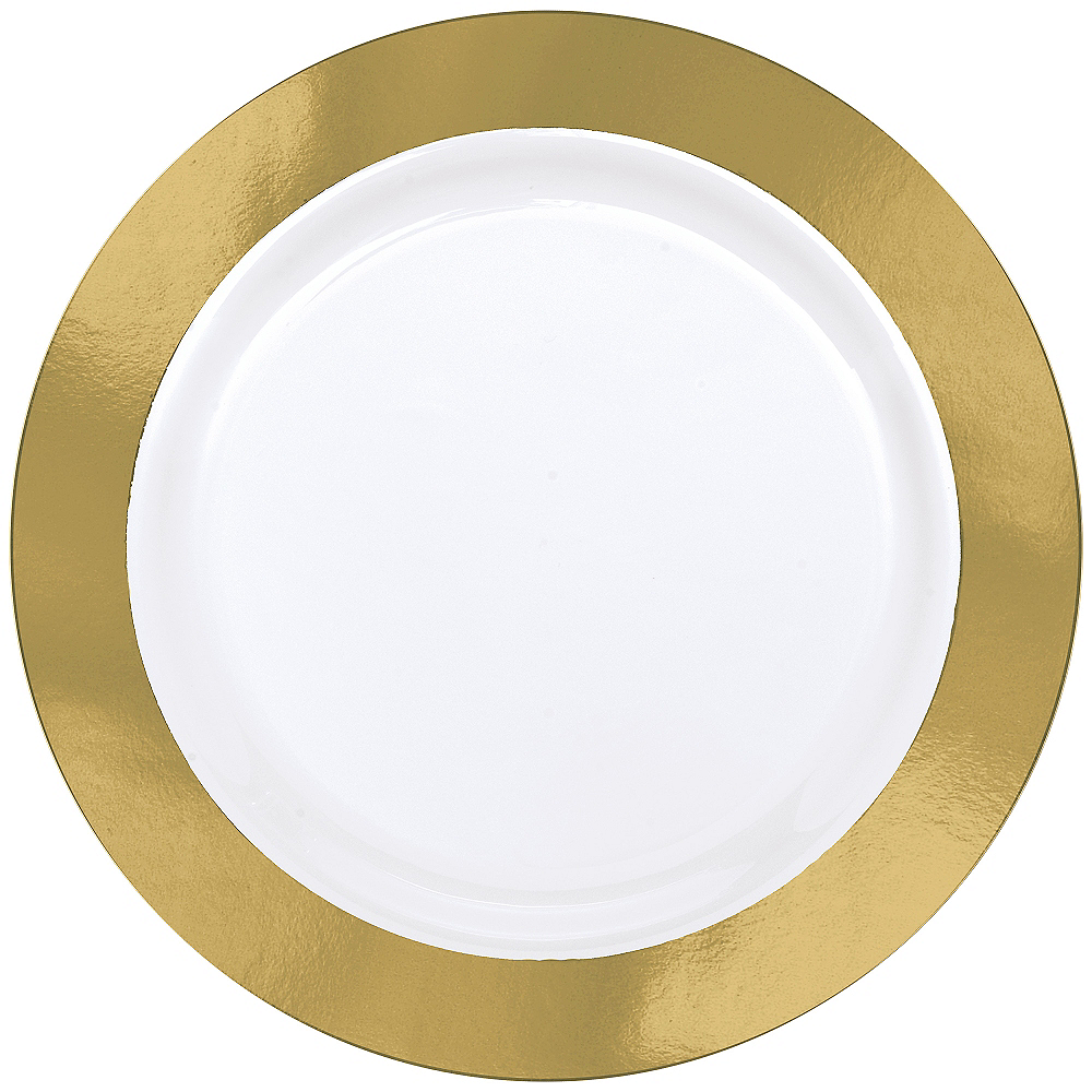 Gold Border Premium Plastic Dinner Plates 10ct Image #1