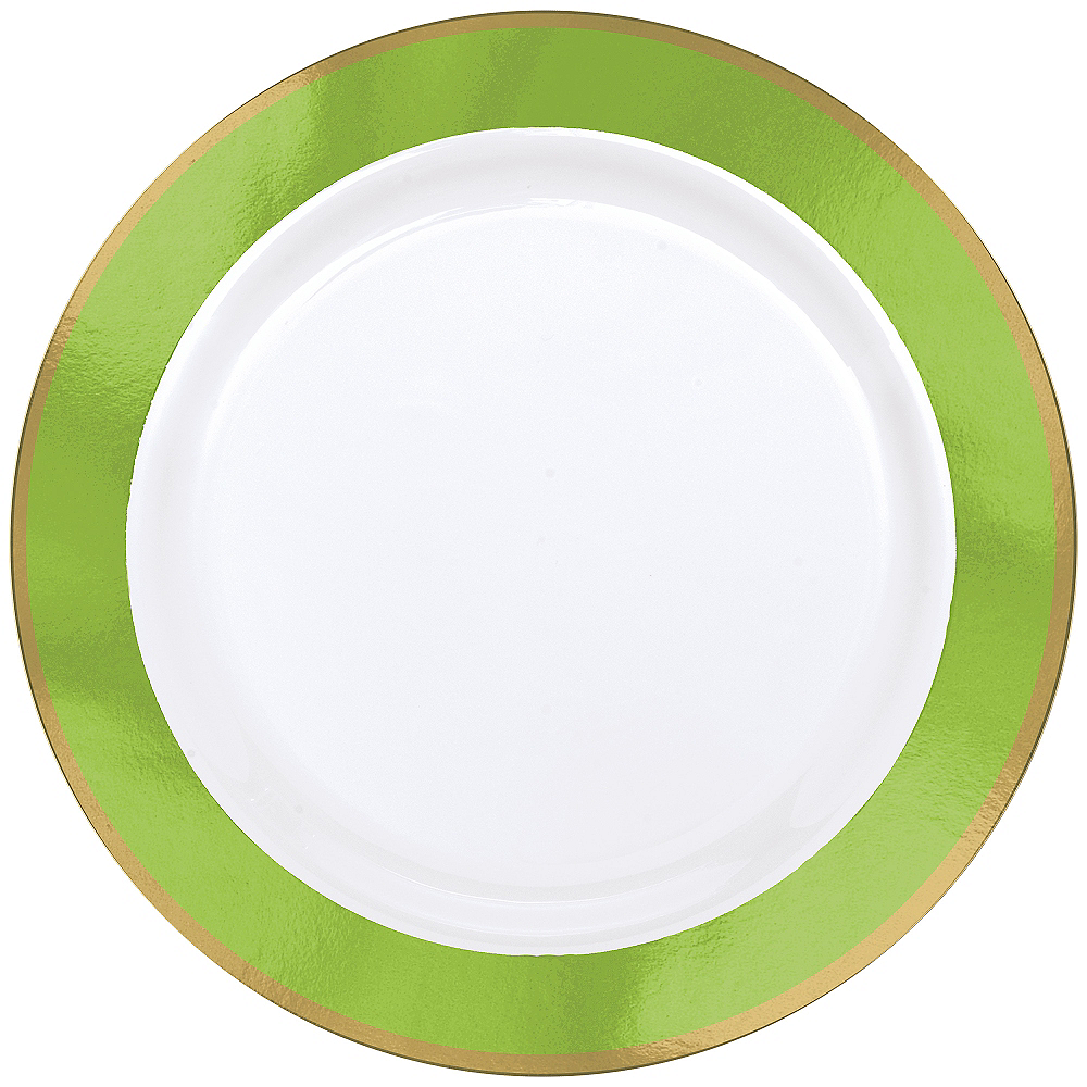 Gold & Kiwi Green Border Premium Plastic Dinner Plates 10ct Image #1